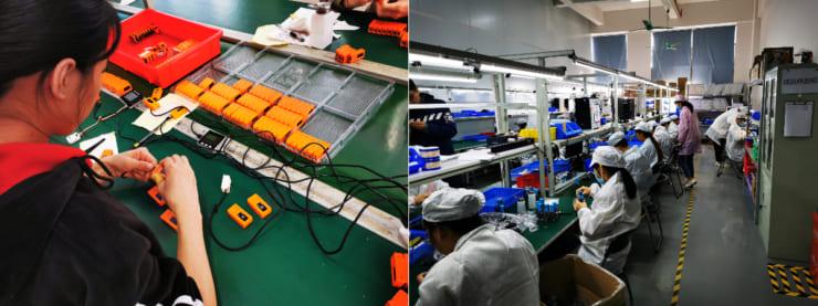 M5Stack社も社員が20名ほどの早期から自社製造ラインでの製造を始めている。社員50名ほどに拡大した今は工場ラインを東莞市虎門に移転し、拡大している