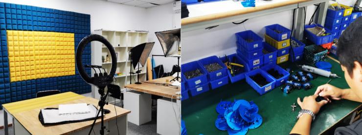 HiWonder社内の撮影スタジ(左)この裏に製造ラインがある(右)