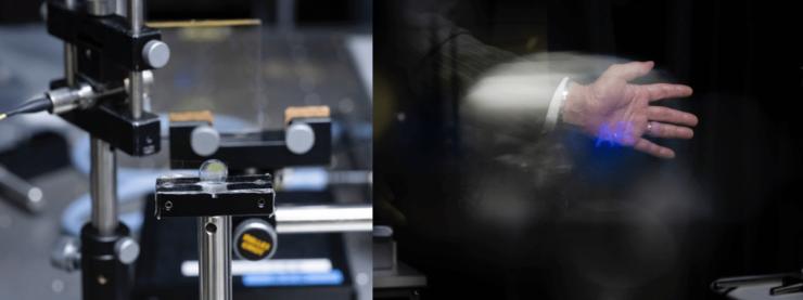 実際の構成に近い形での実験装置(左)。手前のコンタクトレンズを通して見ると、「AR」の文字と手が重なって表示される(右)
