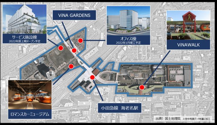 研究対象予定エリアである小田急線海老名駅および周辺施設(Beyond AI 研究推進機構提供)