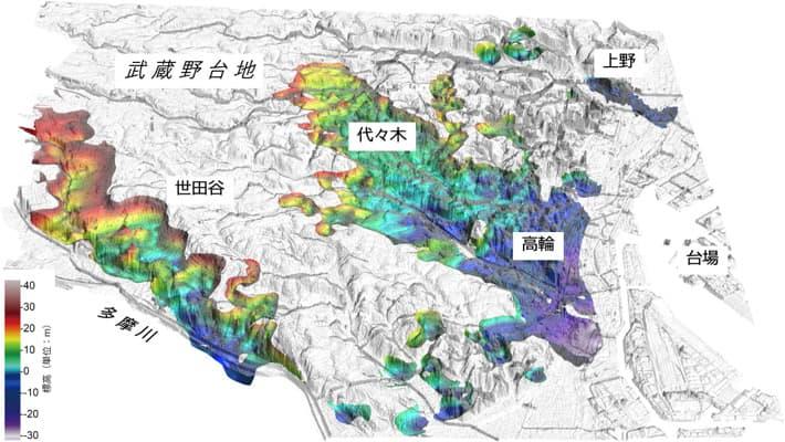 武蔵野台地側の地下構造の立体図(提供:産総研 地質調査総合センター)
