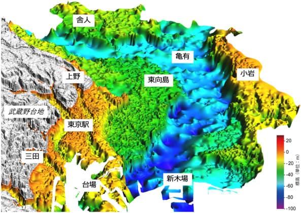 低地側の地下構造の立体図(提供:産総研 地質調査総合センター)