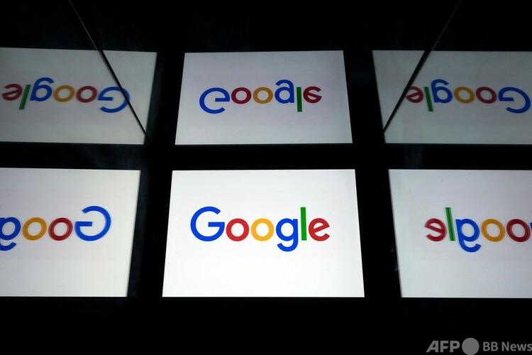 米グーグルのロゴ(2019年2月17日撮影、資料写真)。(c)Lionel BONAVENTURE : AFP